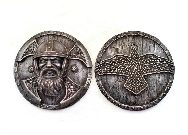 Scandinavian folk art pagan decor viking shield celtic wall art Norse wall art Berserk and odin raven viking decor