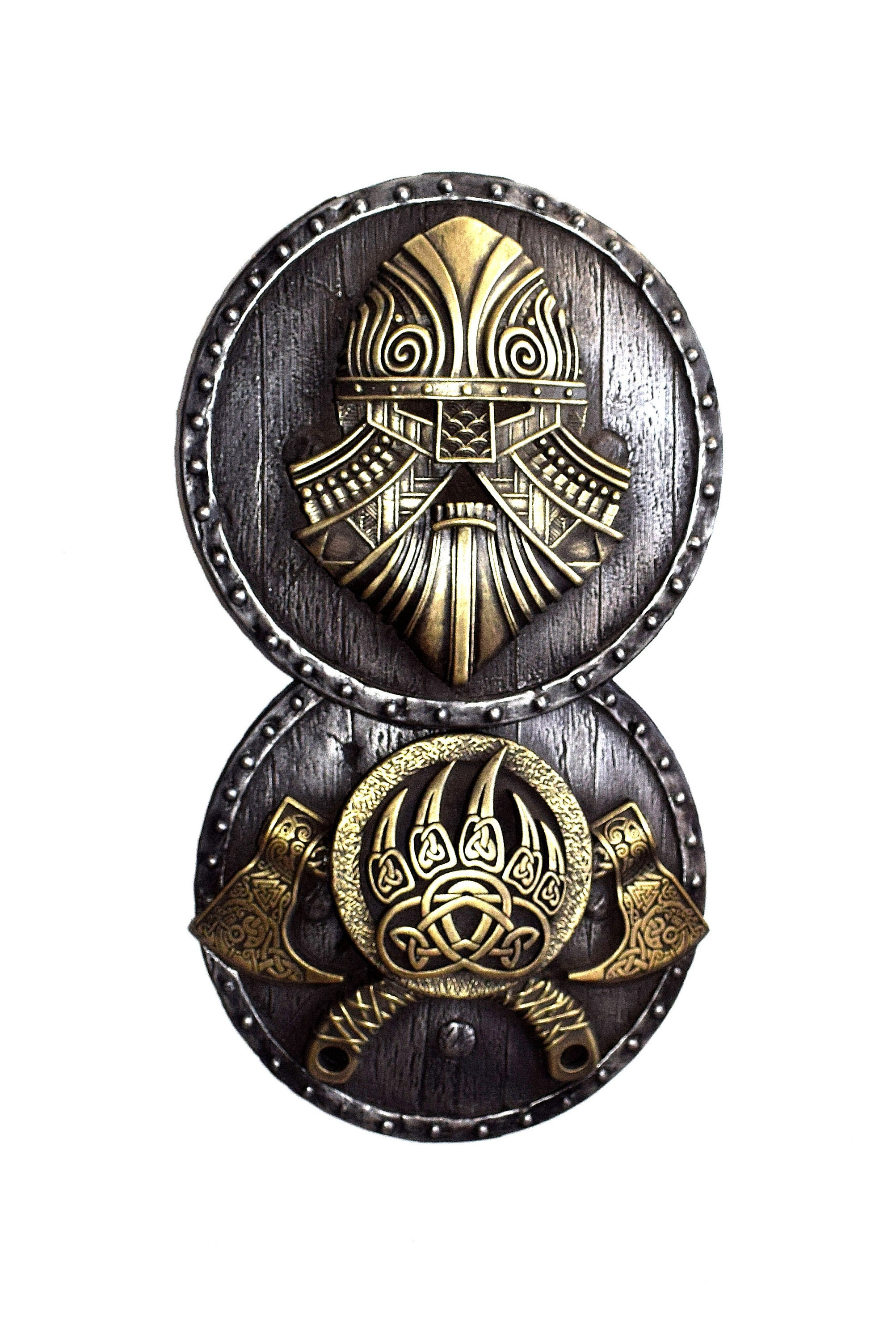 Viking Norse Axes on the Shield Iron Wall Sculpture Home Room Decor  Gift