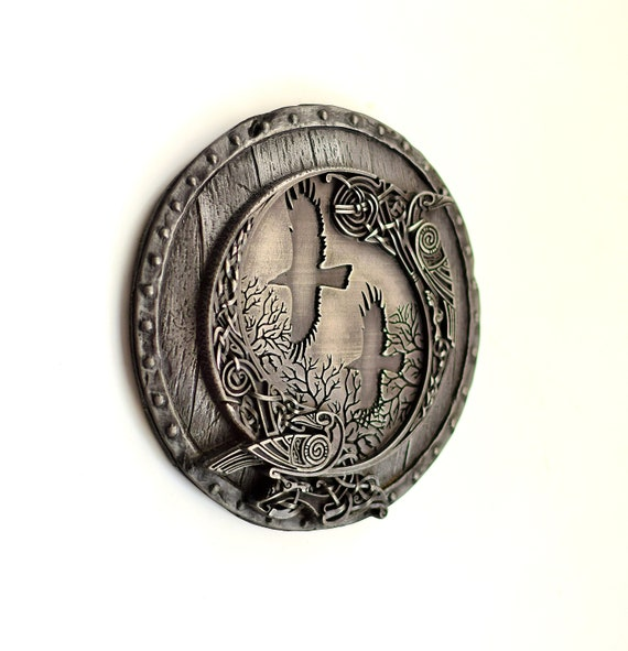 Norse God Odin and Ravens  Viking Shield Wall Sculpture Home Room Decor  Gift
