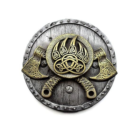 Viking decor bearded axe on the shield norse wall art Scandinavian folk art viking hatchet axe head pagan decor