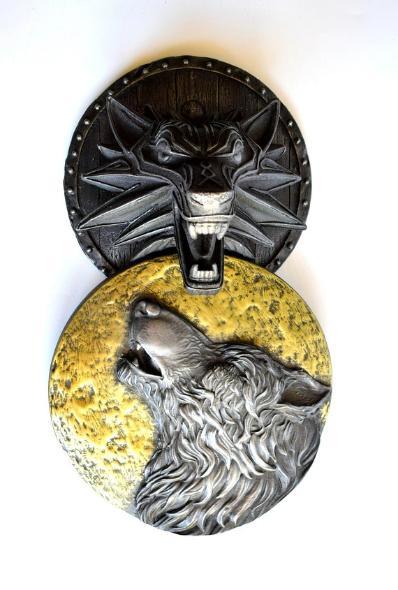 Fenrir Norse Viking Wolf Moon Howling Shield Iron Brass Etsy