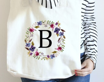 Tote for Bridesmaid, Boho Floral Monogram Bridesmaid Tote, Floral Monogram Tote, Monogram Tote Floral, Personalized Tote, Canvas Floral Tote