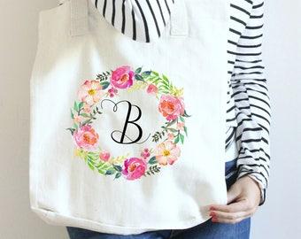 Custom Tote Bag, Gift for Bridesmaid, Bridal Party Gift Ideas, Initial Tote Bag, Floral Monogram Tote, Floral Initial Tote, Flower Tote Bag