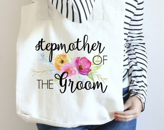 Stepmother of the Groom Tote Bag, Wedding Gift for Stepmother, Tote Bag for Stepmother of the Groom, Mother of the Groom Bride Tote Bag