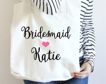 Bridesmaid Tote Bags, Personalized Tote, Floral Custom Name Tote, Bridesmaid Monogram Tote, Bridal Party Tote Bag, Tote Bag for Bridal Party