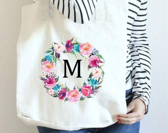Bridesmaid Gift, Gift for Bridesmaid, Bridal Party Gift Ideas, Initial Tote Bag, Floral Monogram Tote, Floral Initial Tote, Flower Tote Bag