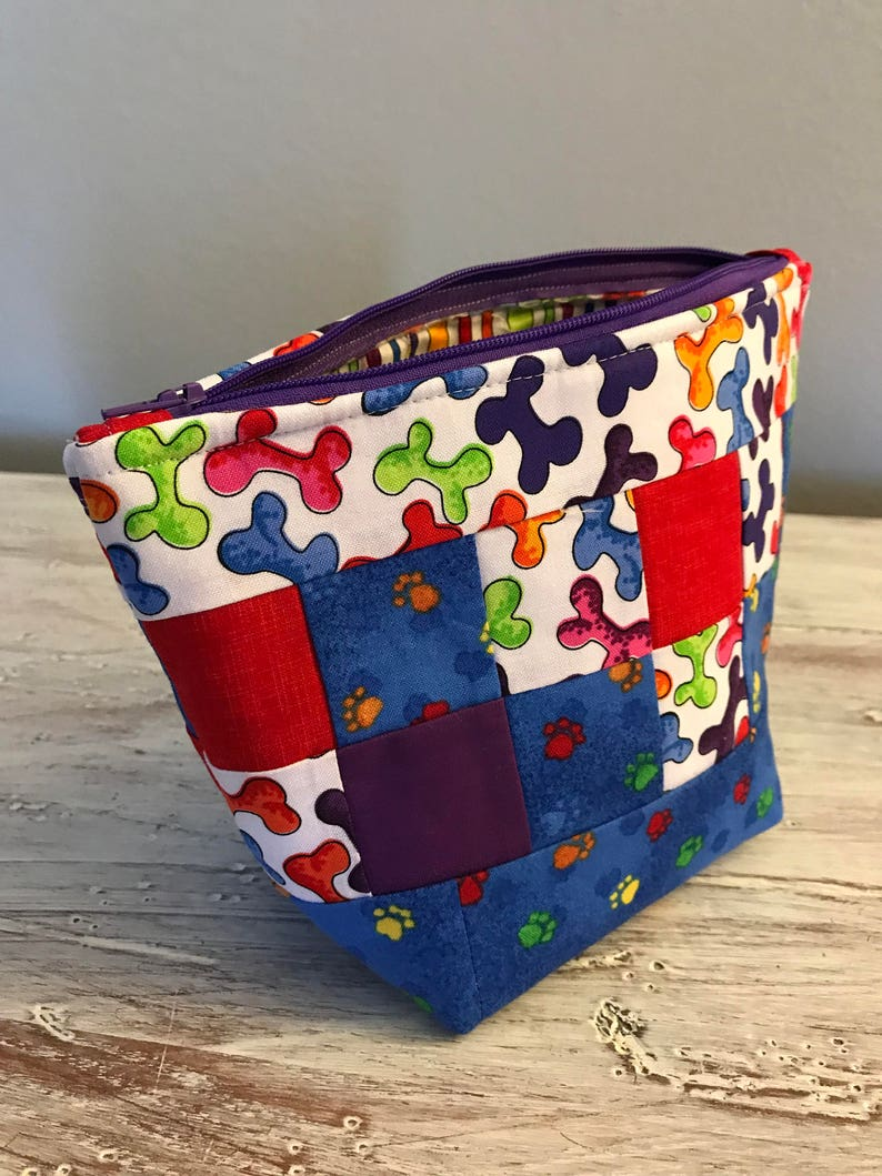 Puppy Print Zipper Pouch Fabric Quilted