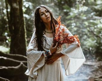 Wrap-around organic linen gypsy cotton top boho