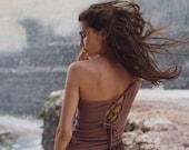 Off The Shoulder Top Raw Organic Cotton Goddess Boho Top Tee Gypsy Tunic One Shoulder Linen Top Brown Asymmetrical Tee