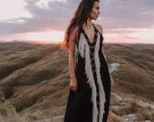 Black Boho Dress Organic Bohemian Dress Slip Maxi Dress Evening Dress Goddess Dress Black Wedding Dress Fringe Dress Women Dress