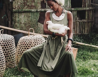 7d8356a82a Goddess Long Green Dress • Boho Linen dress • Organic Linen Womens dresses  • Tribal Bohemian Wedding dress • Gypsy Eco Organic clothing Aya
