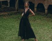 NEW Boho Jumpsuit Women Peace Silk Cotton Overall Cold Shoulder Maxi Jumpsuit Black Romper Women Handmade Artisan Jumpsuit