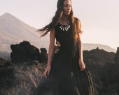 Black Wedding Dress Bohemian Dress Organic Goddess Dress Open Back And Sides Dress Boho Black Dresses Women Prom Bridesmaid Dress