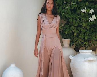 NEW! Peace Silk and Cotton Jumpsuit Women • Bohemian Overalls • Cold Shoulder Maxi Jumpsuit • Dusty Pink Romper Women • Artisan Handmade