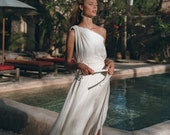 Greek Goddess Wedding Dress Boho Bohemian Dress Organic Cotton Bridesmaid Dress Maxi One Shoulder Dress Off White Long Toga Dress