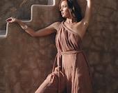 Jumpsuit for Women Organic Overalls Women Braided Handmade One Shoulder Overall Boho Romper Women Dusty Pink Yoga Jumpsuit Organic