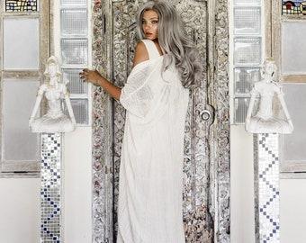 Long Bridal Robe • Bridal Cape for Women • Long Poncho Robe • Organic Kimono • Boho Clothing Women • Bridal Cape •  Dressing Gown Off White
