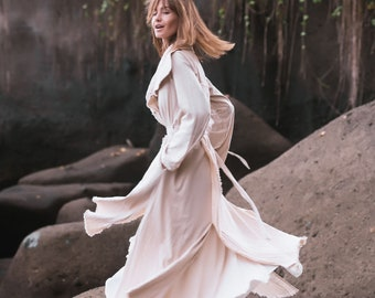 1cf95763eb White jacket for women • Wrap cardigan • Fall clothes • Cotton jacket with  belt • Slit belted spring coat • High collar boho robe buttoned
