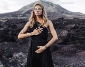 Greek Black Wedding Dress Greek Goddess Dress One Shoulder Maxi Dress Braided Organic Black Toga Dress Grecian Dress Boho Dress