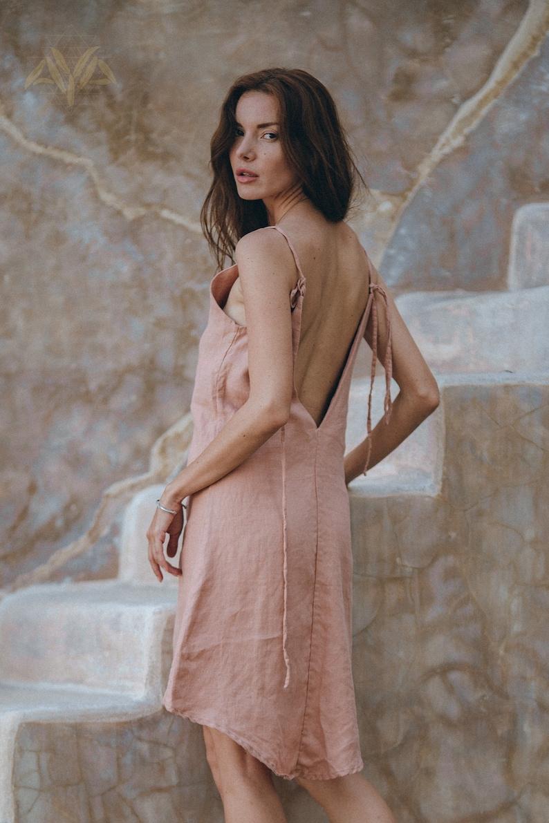 Pink Linen Mini Dress \u2022 Bohemian Slip Mini Dress \u2022 Organic Linen High Low Dress \u2022 Linen Open Back Mini Dress \u2022 Pink Low Back Slip Dress Mini