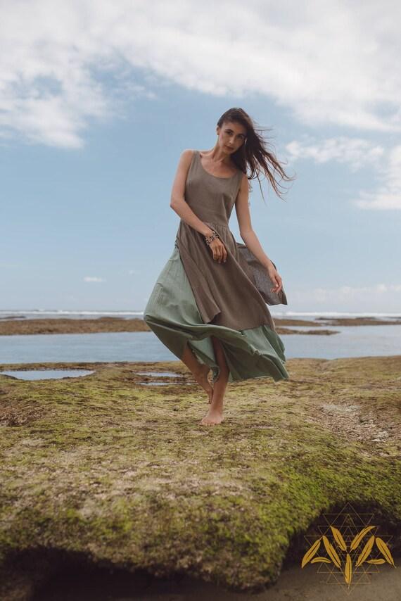 cdf8a55809 Organic linen womens dress Gypsy long boho dress Vintage