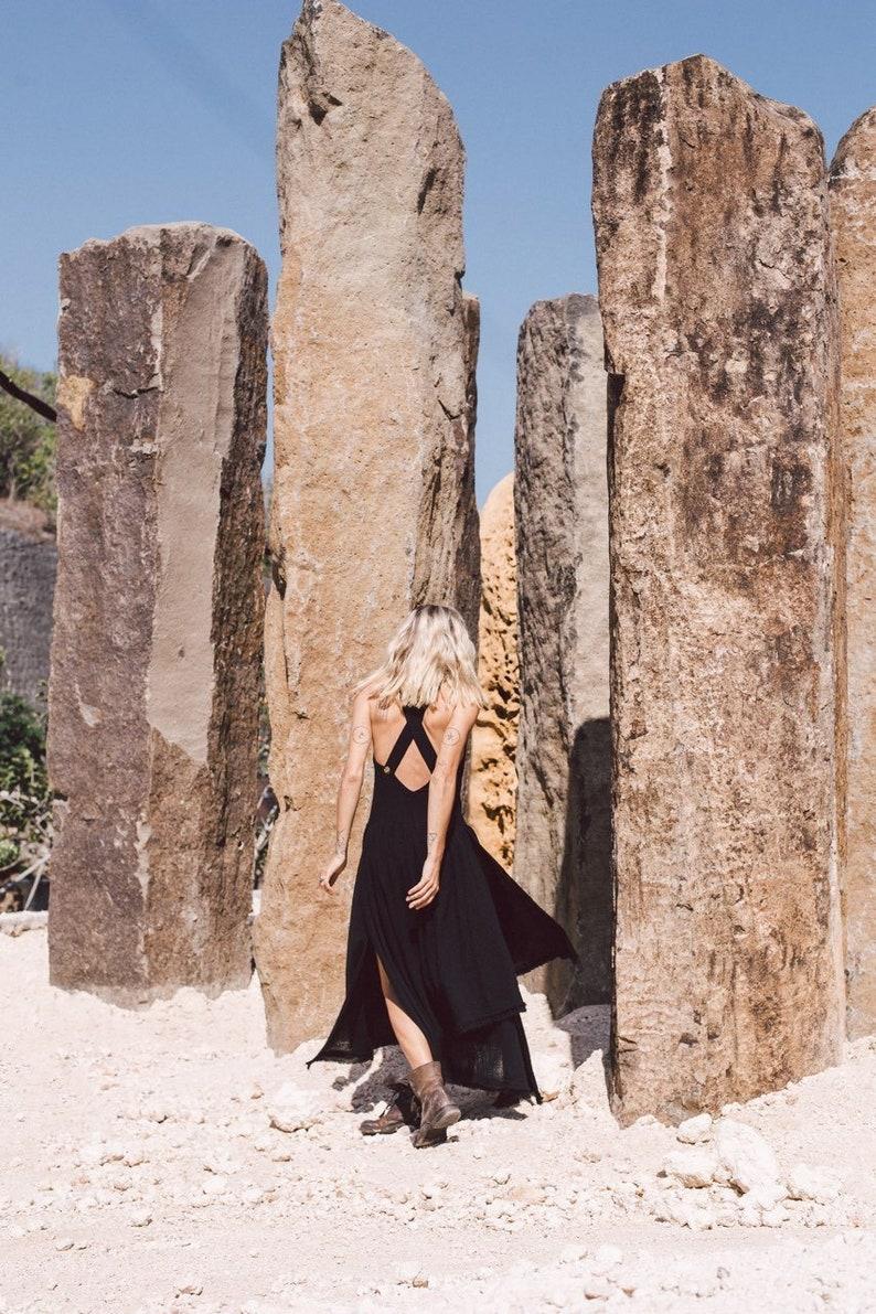 7ea384260a3 Black dresses for women Boho long dress Raw cotton organic
