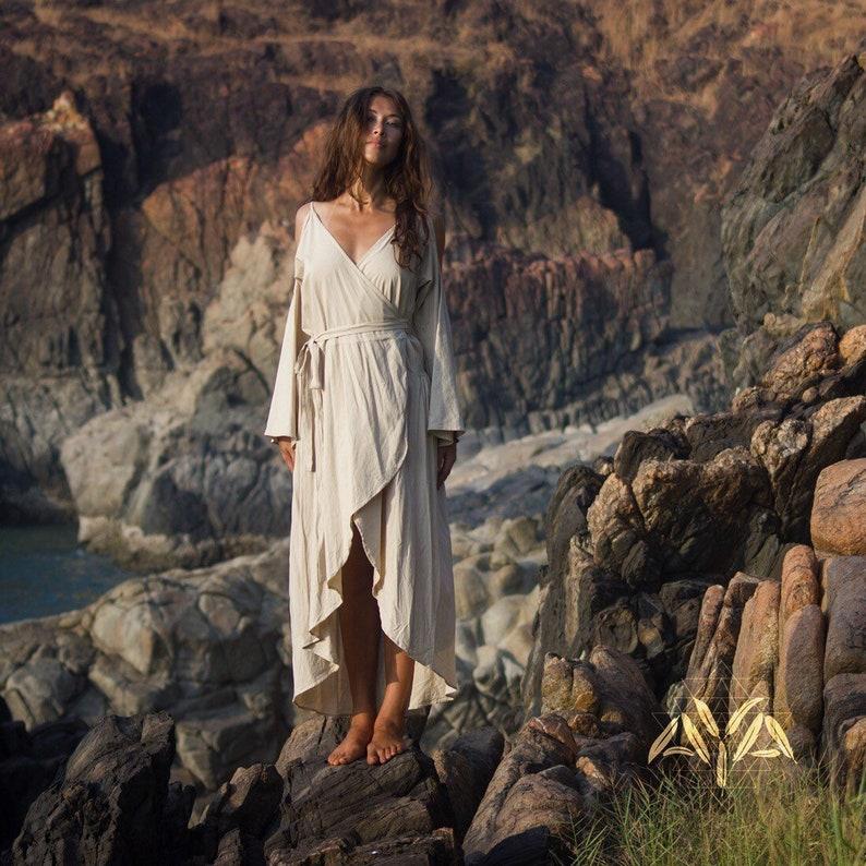 888709735d Long sleeve organic linen dress White Bohemian Dress Boho