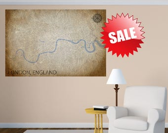london canvas print uk vintage map united kingdom horizontal wall art vintage old map long large panoramic poster home decor england