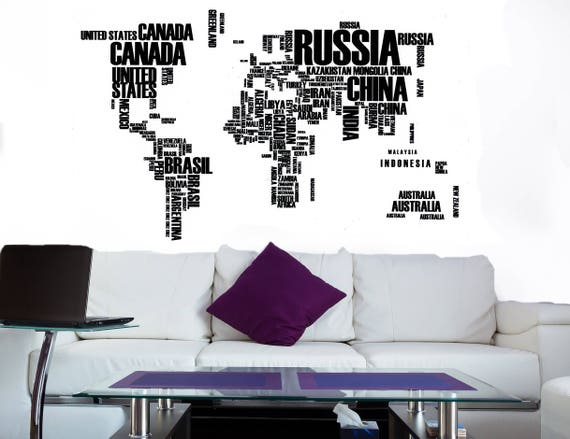 Map wall art world map decal world map mural map wall etsy image 0 gumiabroncs Images