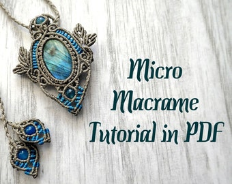 Micromacrame Pendant Necklace with Oval Stone Advanced Tutorial in PDF / Macrame Pattern Step by Step Photo Instructions Instant Download