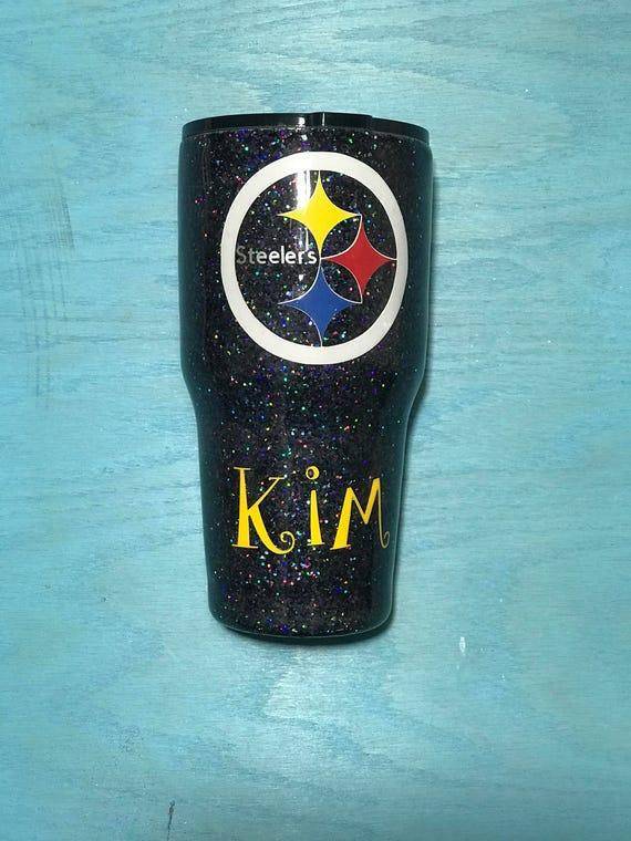 Steelers Inspired Glittered Yeti Pittsburgh Steelers Inspired Yeti