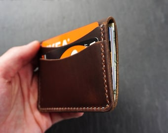 Horween Leather Wallet, Slim Leather Card Wallet