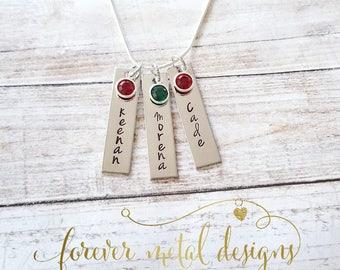 Hand Stamped Bar Necklace with swarovski birthstones