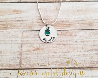 Personalized Hand Stamped Necklace Sweet and Simple
