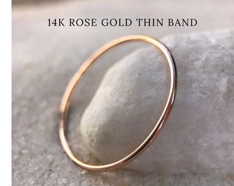 Rose Gold SOLID 14k Ultra Thin Wedding Band, Trendy, dainty slim Stacker, Stackable Spacer Thumb Ring Very Thin minimal midi Gift for Her