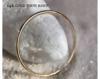 14k SOLID Yellow Gold Ultra Thin Wedding Band Classic Plain Simple, skinny ring, dainty stacker round very thin spacer thumb ring midi