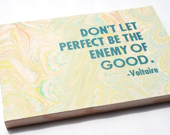 Marbled Letterpress Voltaire Quote