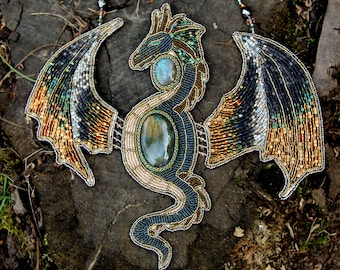 Dragon Necklace Bead Embroidery jewelry Big Art Necklace Dragon Jewelry Flying Serpent Jewelry with natural stones Labrador dragon dream
