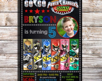 Power Rangers Dino Charge Birthday Invitation Party