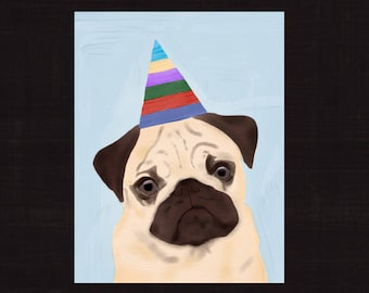 Happy Birthday Card Pug Dog Instant Download PDF Digital File Printable Cards Cute Colorful Free Shipping