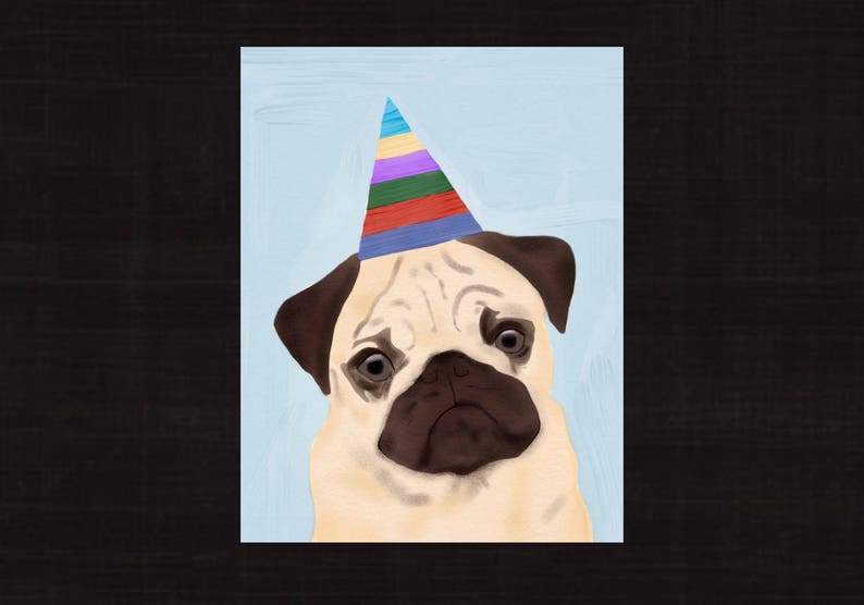 photograph relating to Dog Birthday Cards Printable Free referred to as Delighted Birthday Card, Pug pet, Quick Down load, PDF, Electronic Document, Printable Playing cards, Lovely, Colourful, Cost-free Delivery