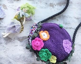 Children's Crocheted Bag, Crocheted Bag, Fairy Bag, Shoulder Bag by NoosaForestFairies.  Free Shipping in Australia