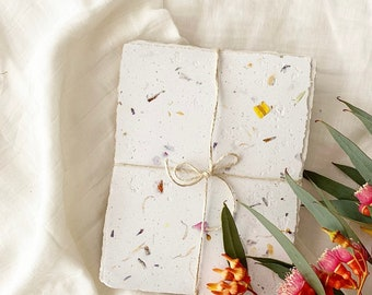 8x Sheets FLORAL SEEDED Recycled Handmade Paper {A5, 100% Recycled and Sustainable}