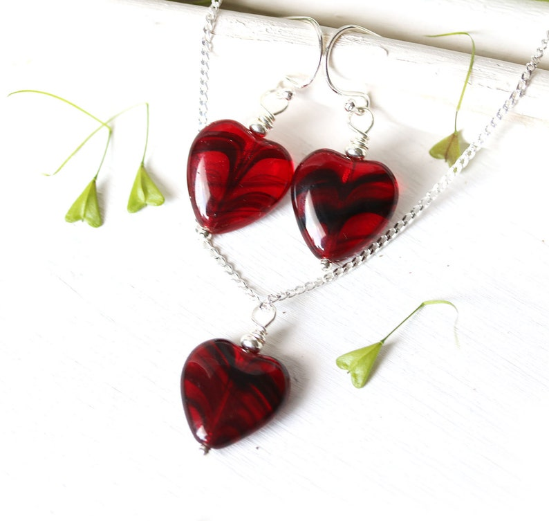 Red heart necklace and earrings Love jewelry Valentines day gift Red heart jewelry set