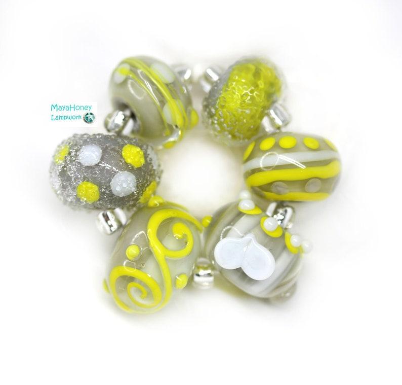 Gray round beads set for jewelry making SRA by MayaHoney Gray Yellow artisan lampwork glass beads mix