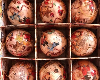 Vintage Victorian Decoupage paper Mache Christmas Ball ornaments in original box