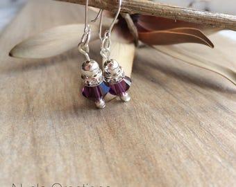 Amethyst Swarovski Birthstone Earrings February