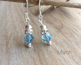 Aquamarine Swarovski Birthstone Earrings March