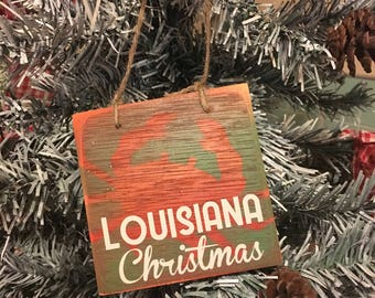 a louisiana christmas and crab handmade cajun and louisiana inspired christmas ornament in green red and white
