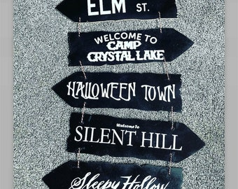 Gothic wall hanging, horror destination wall hanging, halloween hanging signs. Gothic decor, Halloween decor, wooden sign, gothic homewares